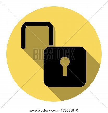 Unlock sign illustration. Vector. Flat black icon with flat shadow on royal yellow circle with white background. Isolated.