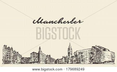 Manchester skyline, Greater Manchester, England, vintage vector illustration, hand drawn sketch