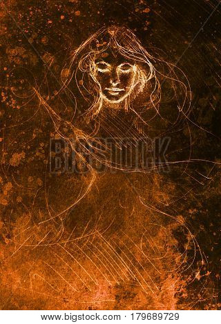 drawing of beautiful contemplative woman face with flying phoenix bird on abstract background