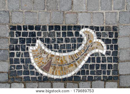 Fish Mosaic Pavement At Stein Am Rhein, Schaffhausen. Switzerland