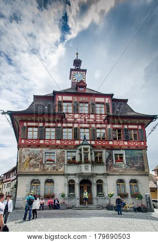 Painted House On Main Square At Medieval Town Stein Am Rhein. Schaffhausen Canton. Switzerland