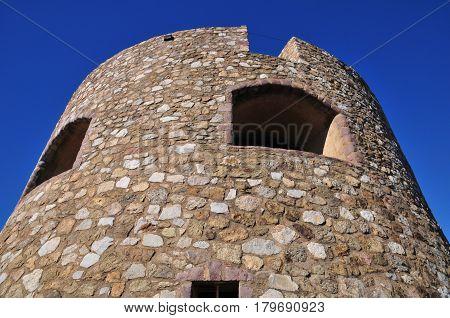 Saint Tropez; France - april 18 2016 : an old tower near the port