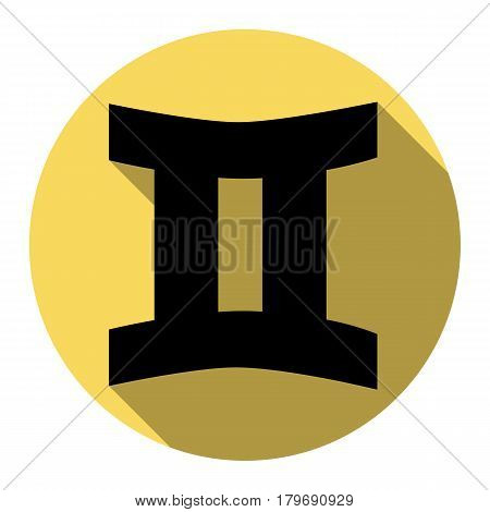 Gemini sign. Vector. Flat black icon with flat shadow on royal yellow circle with white background. Isolated.