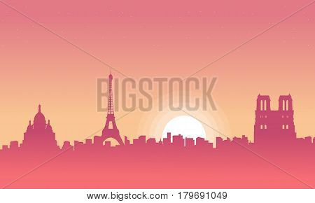 Vector illustration of Paris scenery at morning collection stock