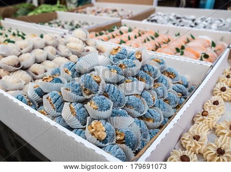Marzipan Sweets In Carton Boxes For Sale At Mahane Yehuda Market, Popular Marketplace In Jerusalem,