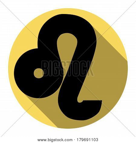 Leo sign illustration. Vector. Flat black icon with flat shadow on royal yellow circle with white background. Isolated.