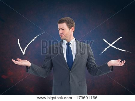 Digital composite of Man choosing or deciding with open palm hands right or wrong tick and x