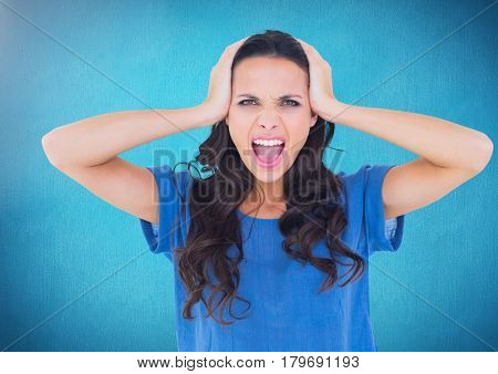 Digital composite of Stressed woman against blue background