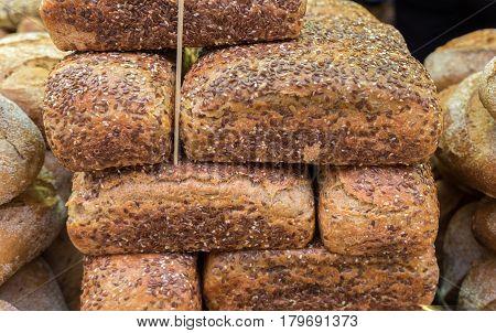 Fresh Sesame Dark Bread For Sale At Mahane Yehuda Market, Popular Marketplace In Jerusalem, Israel