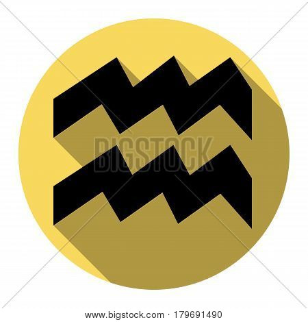 Aquarius sign illustration. Vector. Flat black icon with flat shadow on royal yellow circle with white background. Isolated.