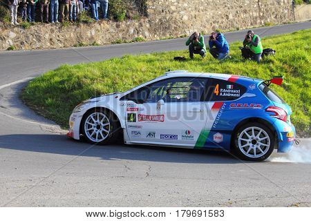 Testico Italy - April 01 2017-64 Di Sanremo Rally: Peugeot 208 T16 conducted by the crew Andreucci-Andreussi (winners of the race), during the second special stage of speed 'timed, from Testico that led to the summit of the Colle D 'Today at.