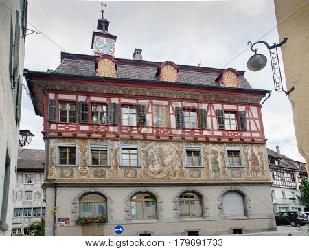 Painted House At Medieval Town Stein Am Rhein. Schaffhausen Canton. Switzerland
