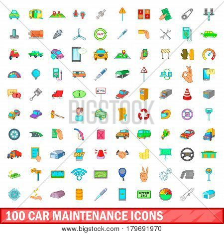 100 car maintanance icons set in cartoon style for any design vector illustration