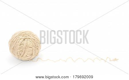 White ball of woolen threads on a white background.