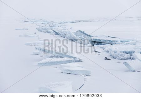 Ice Floe. Winter Landscape. Ice-drift Of Baikal Lake