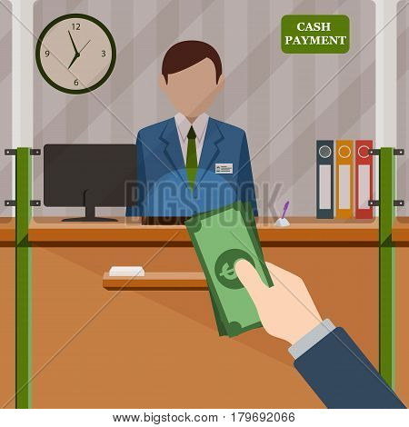 Bank teller behind window. Hand with cash. Depositing money in bank account. Signboard Cash Payment. People service and payment. Vector illustration in flat style