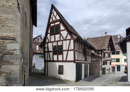 Vintage Timber Framing Houses At Schaffhausen City. Switzerland