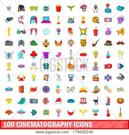 100 cinematography icons set in cartoon style for any design vector illustration