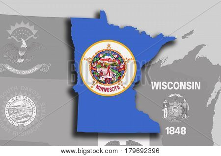 Minnesota Map And Flag