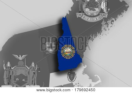New Hampshire Map And Flag