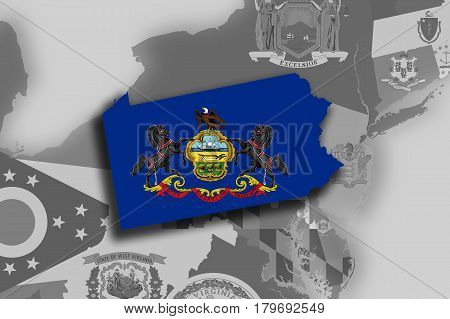 Pennsylvania Map And Flag