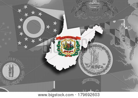 West Virginia Map And Flag