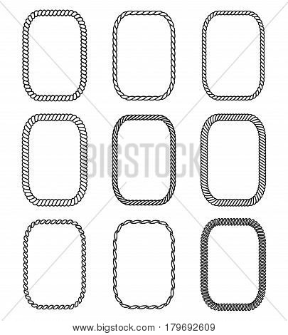 Vector rope set of rectangular frames. Collection of thick and thin borders isolated on white background consisting of braided cord and string. For decoration and design in marine style.