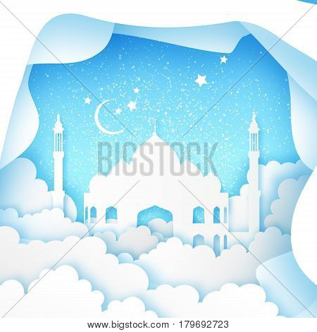 Blue Ramadan Kareem Greeting card. Origami Mosque Window. Paper cut cloud. Holy month of muslim. Symbol of Islam. Crescent Moon. Islamic festival celebration vector