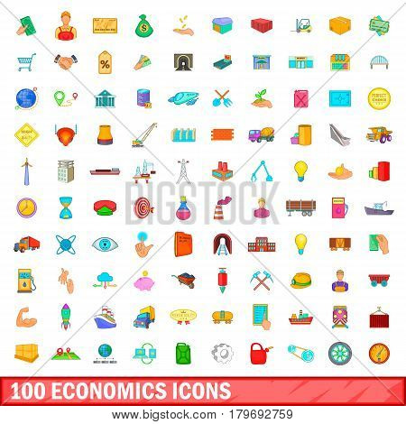 100 economics icons set in cartoon style for any design vector illustration