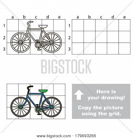 Copy the picture using grid lines, the simple educational game for preschool children education with easy gaming level, the kid drawing game with two-wheeled bicycle.