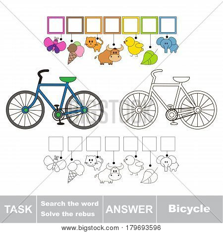 Educational puzzle game for kids. Find the hidden word two-wheeled bicycle.