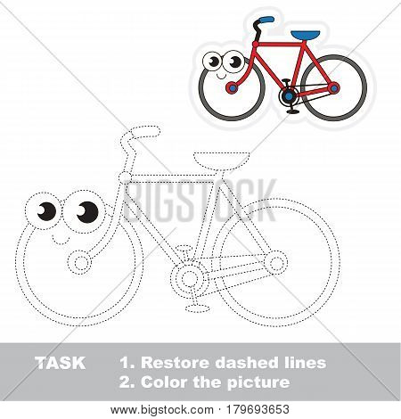 Happy alive two-wheeled bicycle.. Dot to dot educational game for kids, tracing worksheet.