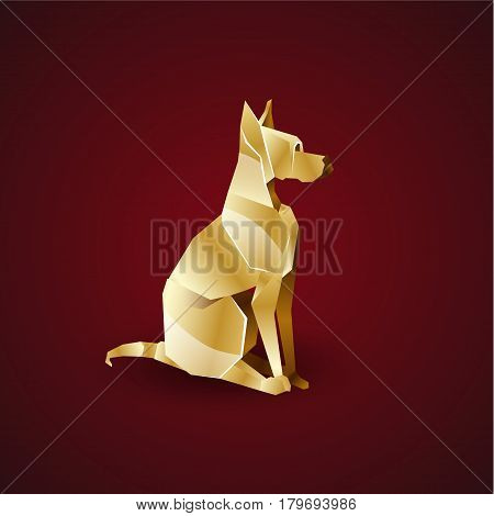 Vector golden origami dog. Great Dane. Polygonal animal logo template.