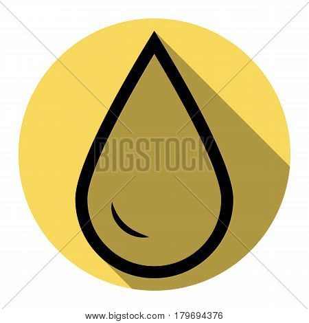 Drop of water sign. Vector. Flat black icon with flat shadow on royal yellow circle with white background. Isolated.