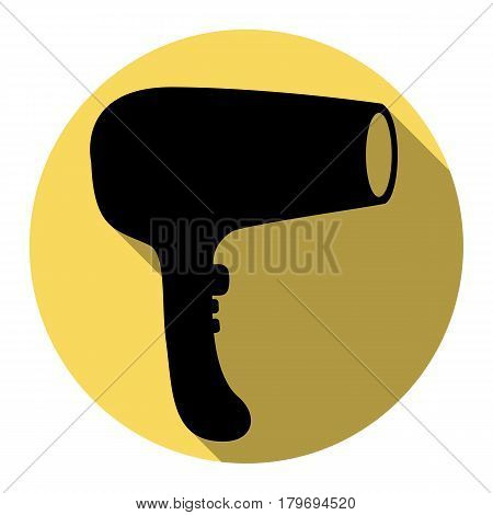 Hair Dryer sign. Vector. Flat black icon with flat shadow on royal yellow circle with white background. Isolated.