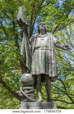 New York USA- May 20 2014. Columbus Statue (was discoverer of America) by Jeronimo Sunol in Central Park New York City USA.