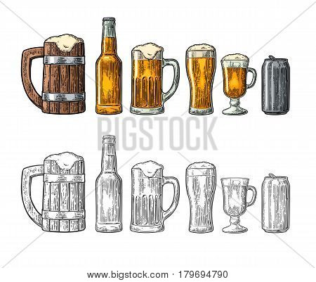 Beer set with wood mug, glass, metallic can, bottle. Vintage black and color vector engraving illustration. Isolated on white background.