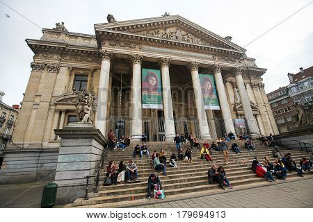 Brussels Stock Exchange Or Bourse In Brussels, Belgium