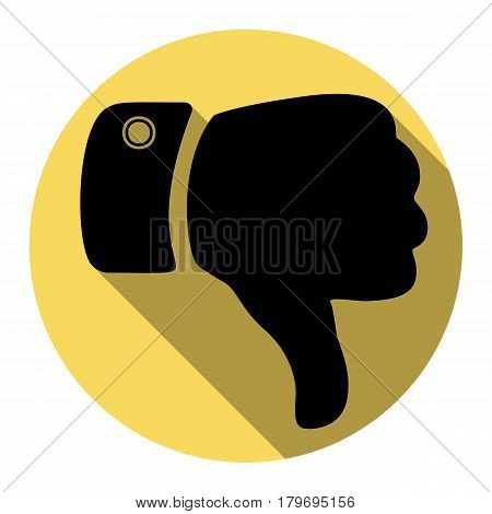 Hand sign illustration. Vector. Flat black icon with flat shadow on royal yellow circle with white background. Isolated.