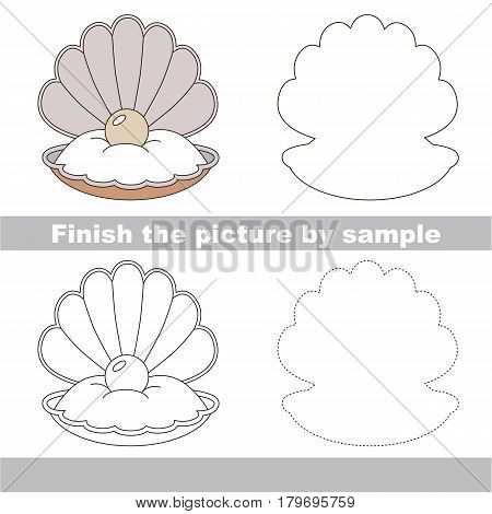 Drawing worksheet for preschool kids with easy gaming level of difficulty, simple educational game for kids to finish the picture by sample and draw the Seashell and Oyster and Pearl