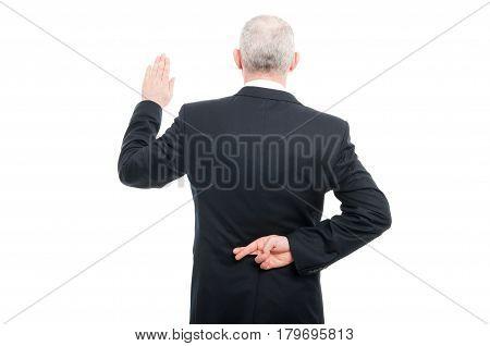 Back View Aged Elegant Man Making Fake Oath Gesture
