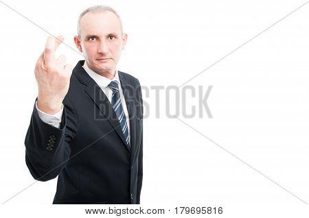 Middle Aged Elegant Man Making Fingers Crossed Gesture