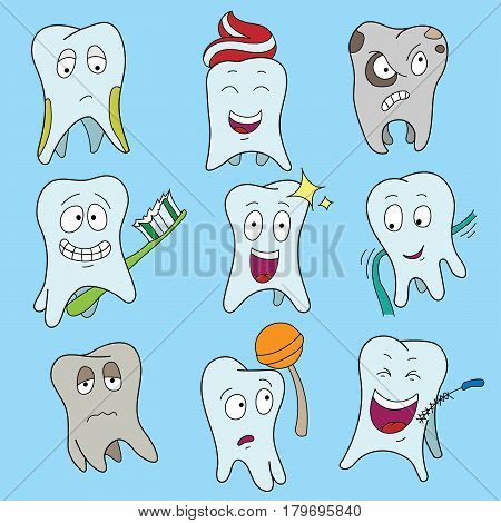 Set of cute tooth showing various emotions, happy shiny white tooth characters symbols, isolated cartoon vector illustration. Teeth Collection Flat Vector Illustration