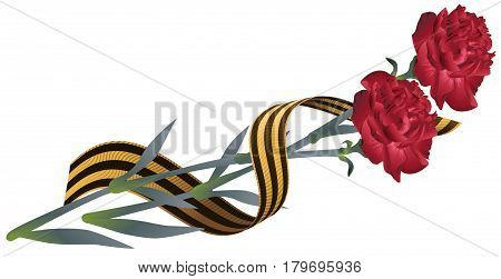 Red carnation flower and St. Georges ribbon. Symbol of Victory Day. Isolated on white vector illustration