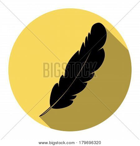 Feather sign illustration. Vector. Flat black icon with flat shadow on royal yellow circle with white background. Isolated.