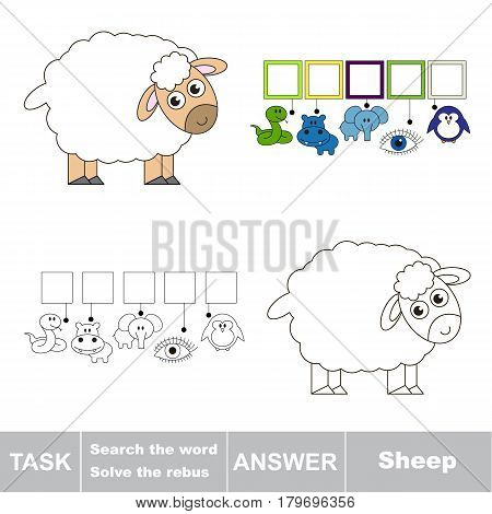 Educational puzzle game for kids. Find the hidden word Sheep