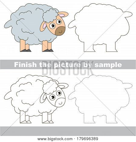 Drawing worksheet for preschool kids with easy gaming level of difficulty, simple educational game for kids to finish the picture by sample and draw the Grey Sheep