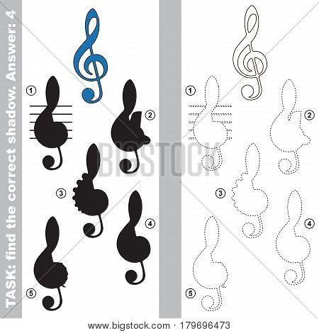 Blue Treble Clef with different shadows to find the correct one, compare and connect object with it true shadow, the educational kid game with simple gaming level.