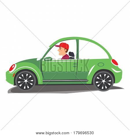 Young man driving green car. Vector illustration of a cheerful man driving on isolated background.