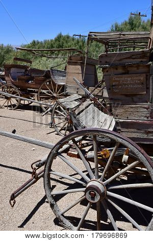 USA - july 11 2016 : horse drawn carriage in the Furnace Creek ranch in the Death Valley National Park